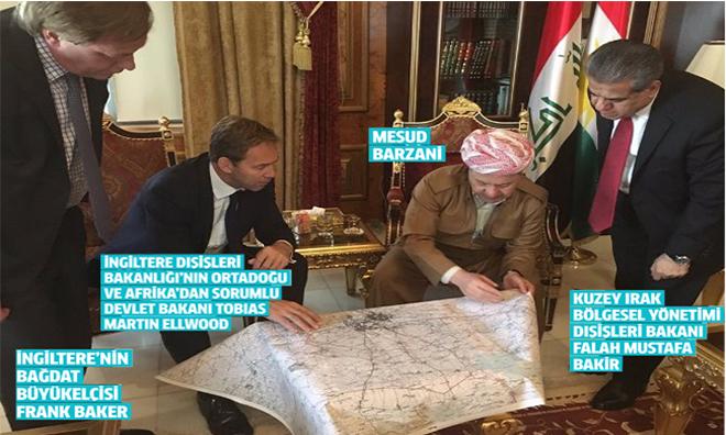"""""""Evet""""çi Barzani İngilizlerle Harita Başında"""