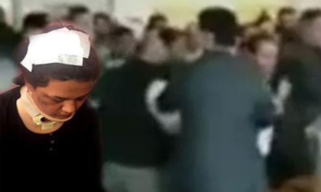 Sandık Görevlisi Kadına Saldırı Kamerada